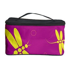 Purple And Yellow Dragonflies Pattern Cosmetic Storage Case by Valentinaart