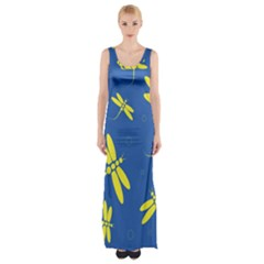 Blue And Yellow Dragonflies Pattern Maxi Thigh Split Dress by Valentinaart