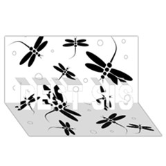 Black And White Dragonflies Best Sis 3d Greeting Card (8x4)  by Valentinaart