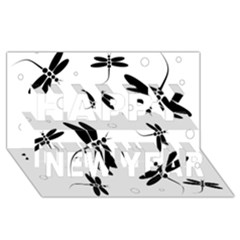 Black And White Dragonflies Happy New Year 3d Greeting Card (8x4)  by Valentinaart