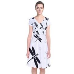 Black and white dragonflies Short Sleeve Front Wrap Dress by Valentinaart