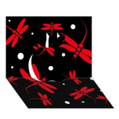 Red, Black And White Dragonflies Apple 3d Greeting Card (7x5)  by Valentinaart