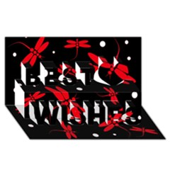 Red, Black And White Dragonflies Best Wish 3d Greeting Card (8x4)  by Valentinaart