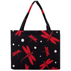 Red, Black And White Dragonflies Mini Tote Bag
