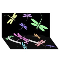 Pastel Dragonflies Twin Heart Bottom 3d Greeting Card (8x4)