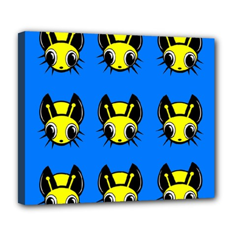 Yellow And Blue Firefies Deluxe Canvas 24  X 20   by Valentinaart