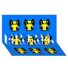 Yellow And Blue Firefies Engaged 3d Greeting Card (8x4)  by Valentinaart