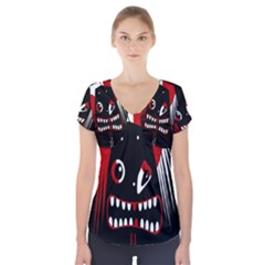 Zombie Face Short Sleeve Front Detail Top by Valentinaart