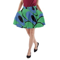 Peacock Pattern A Line Pocket Skirt
