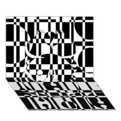 Black And White Pattern Clover 3d Greeting Card (7x5)