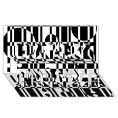 Black And White Pattern Happy New Year 3d Greeting Card (8x4)  by Valentinaart