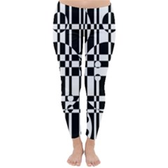 Black And White Pattern Winter Leggings  by Valentinaart