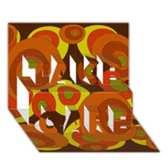 Orange Pattern Take Care 3d Greeting Card (7x5)  by Valentinaart