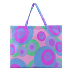 Pink Pattern Zipper Large Tote Bag by Valentinaart