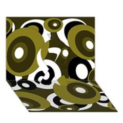 Green Pattern Ribbon 3d Greeting Card (7x5)  by Valentinaart