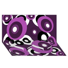 Purple Pattern Twin Heart Bottom 3d Greeting Card (8x4)  by Valentinaart