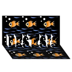Fish pattern BEST SIS 3D Greeting Card (8x4)  by Valentinaart