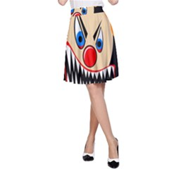 Evil Clown A Line Skirt by Valentinaart