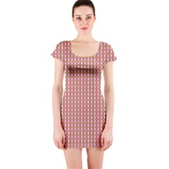 Mod Pink Green Pattern Short Sleeve Bodycon Dress by BrightVibesDesign