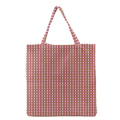 Mod Pink Green Pattern Grocery Tote Bag by BrightVibesDesign