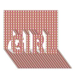 Mod Pink Green Pattern Girl 3d Greeting Card (7x5)