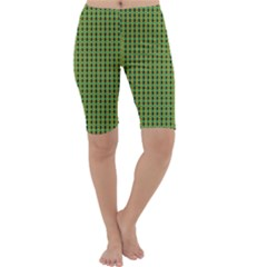 Mod Green Orange Pattern Cropped Leggings  by BrightVibesDesign