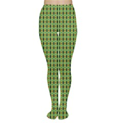 Mod Green Orange Pattern Women s Tights by BrightVibesDesign