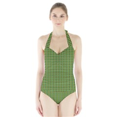 Mod Green Orange Pattern Halter Swimsuit by BrightVibesDesign