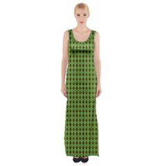 Mod Green Orange Pattern Maxi Thigh Split Dress by BrightVibesDesign