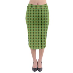 Mod Green Orange Pattern Midi Pencil Skirt by BrightVibesDesign