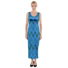 Blue Wavy Squiggles Fitted Maxi Dress by BrightVibesDesign