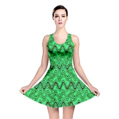 Green Wavy Squiggles Reversible Skater Dress by BrightVibesDesign