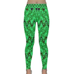 Green Wavy Squiggles Yoga Leggings  by BrightVibesDesign