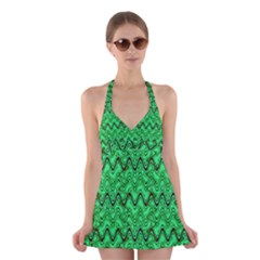 Green Wavy Squiggles Halter Swimsuit Dress by BrightVibesDesign