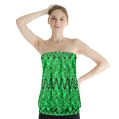 Green Wavy Squiggles Strapless Top by BrightVibesDesign