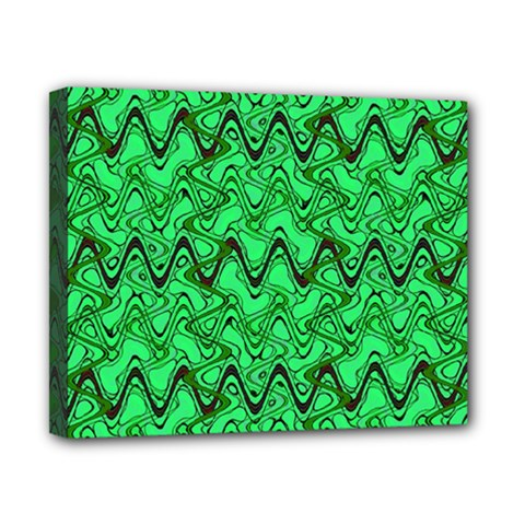 Green Wavy Squiggles Canvas 10  X 8  by BrightVibesDesign