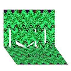 Green Wavy Squiggles I Love You 3d Greeting Card (7x5)  by BrightVibesDesign