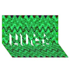 Green Wavy Squiggles Hugs 3d Greeting Card (8x4)  by BrightVibesDesign