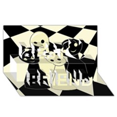 Chess Pieces Best Friends 3d Greeting Card (8x4)  by Valentinaart