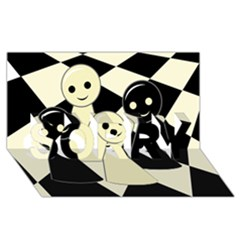 Chess Pieces Sorry 3d Greeting Card (8x4)  by Valentinaart