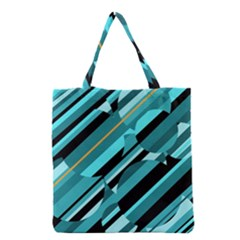 Blue Abstraction Grocery Tote Bag by Valentinaart