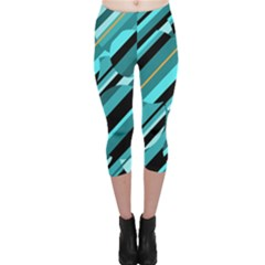 Blue Abstraction Capri Leggings  by Valentinaart
