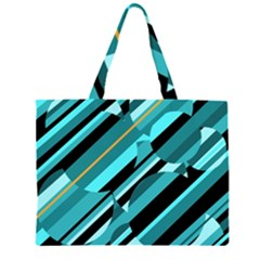 Blue Abstraction Zipper Large Tote Bag by Valentinaart