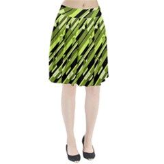 Green Pattern Pleated Mesh Skirt