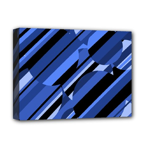 Blue Pattern Deluxe Canvas 16  X 12   by Valentinaart