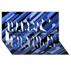 Blue Pattern Happy Birthday 3d Greeting Card (8x4)  by Valentinaart