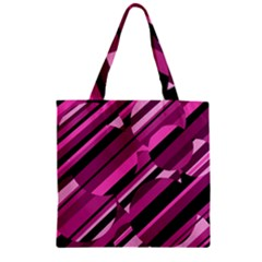 Magenta Pattern Zipper Grocery Tote Bag by Valentinaart