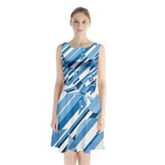 Blue Pattern Sleeveless Waist Tie Dress