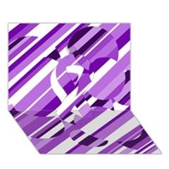 Purple Pattern Ribbon 3d Greeting Card (7x5)