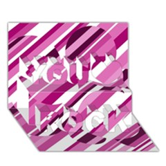 Magenta Pattern You Rock 3d Greeting Card (7x5)  by Valentinaart